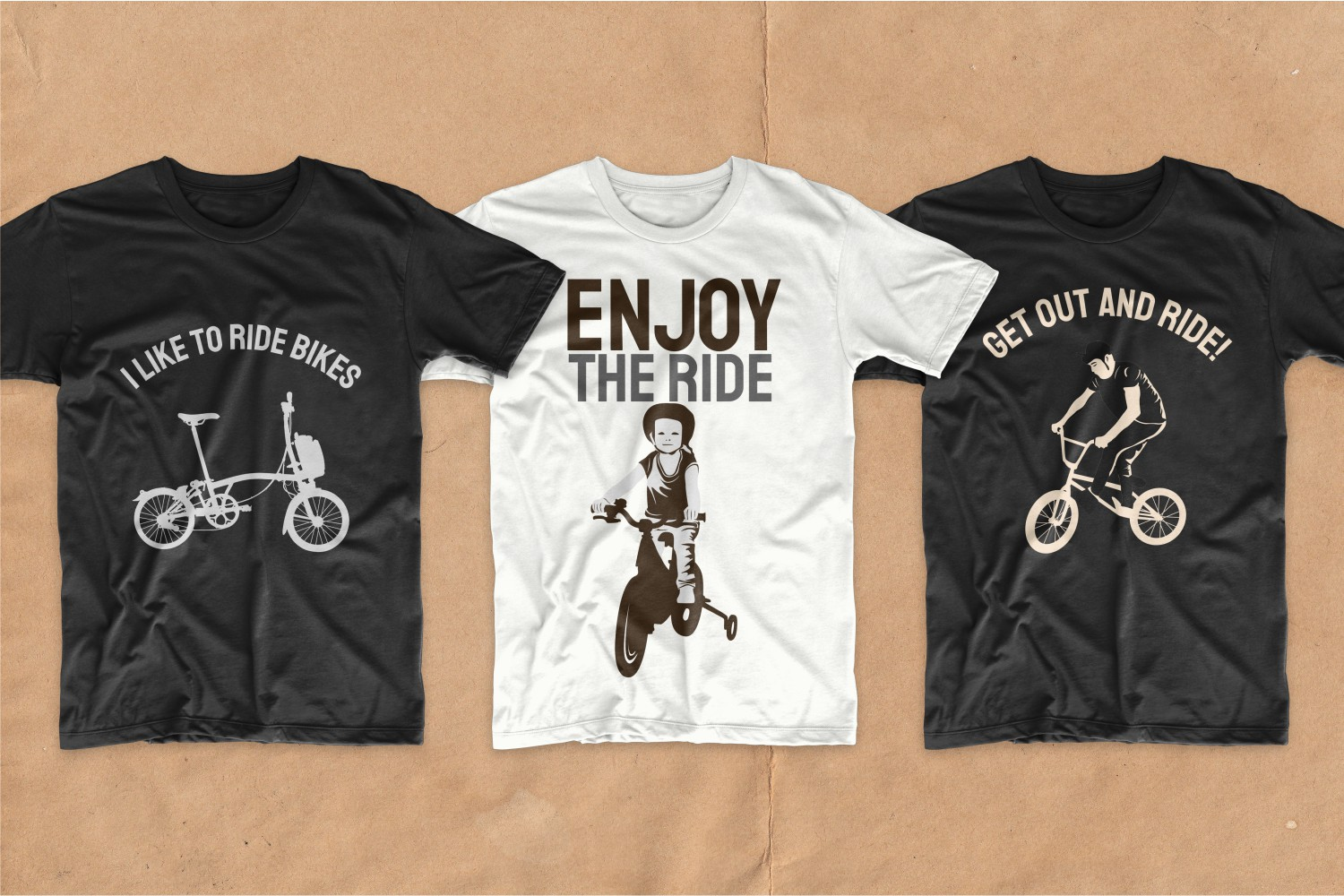 T-shirts with pictures of children's bicycles.