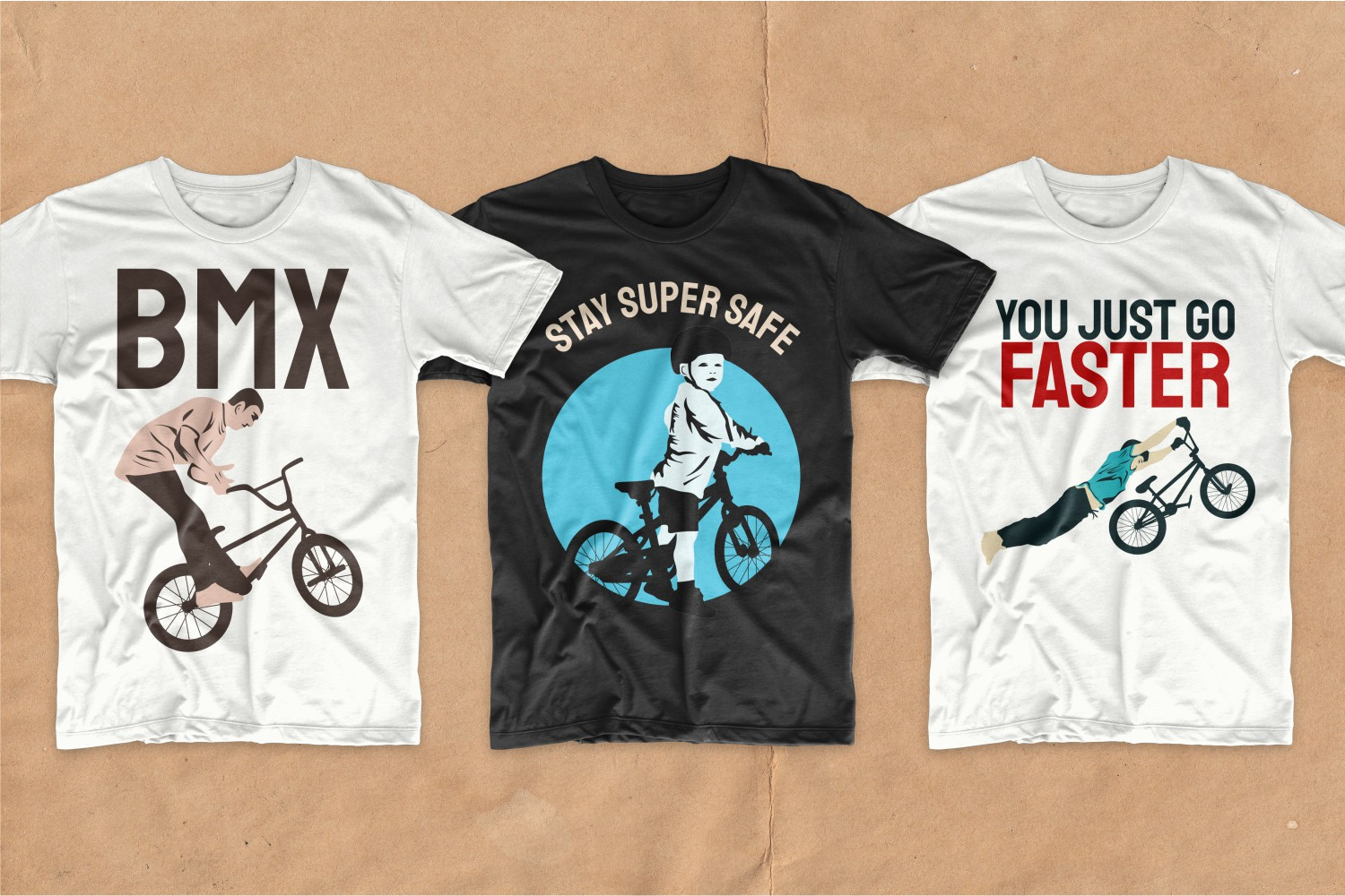 T-shirts featuring active children on bicycles.
