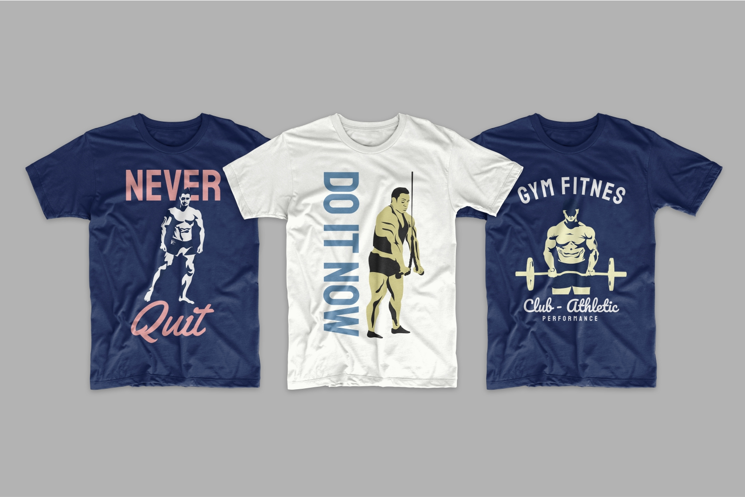 Three T-shirts with beefy men who are topless.