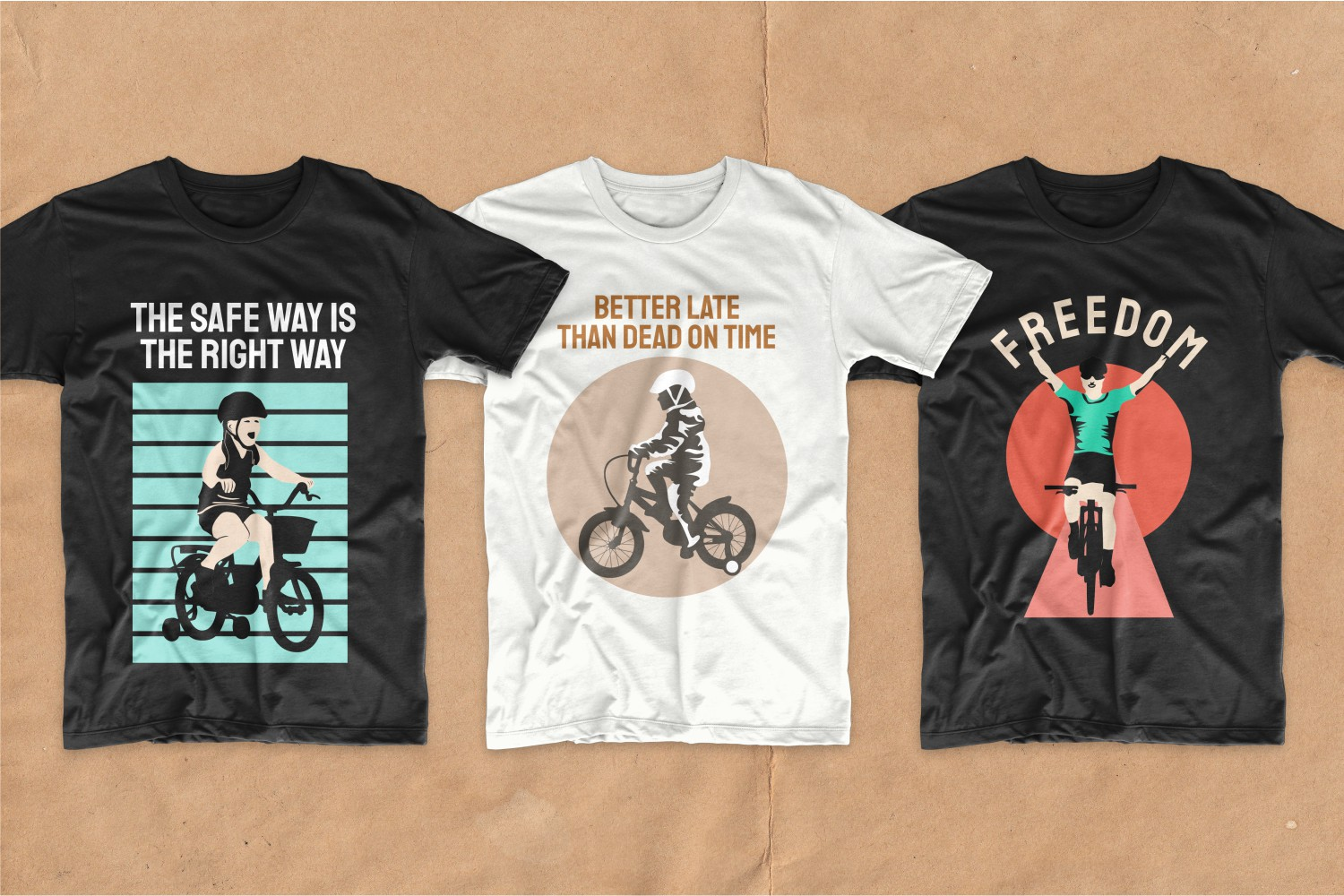 T-shirts with beautiful and bright graphics for kids cycling.