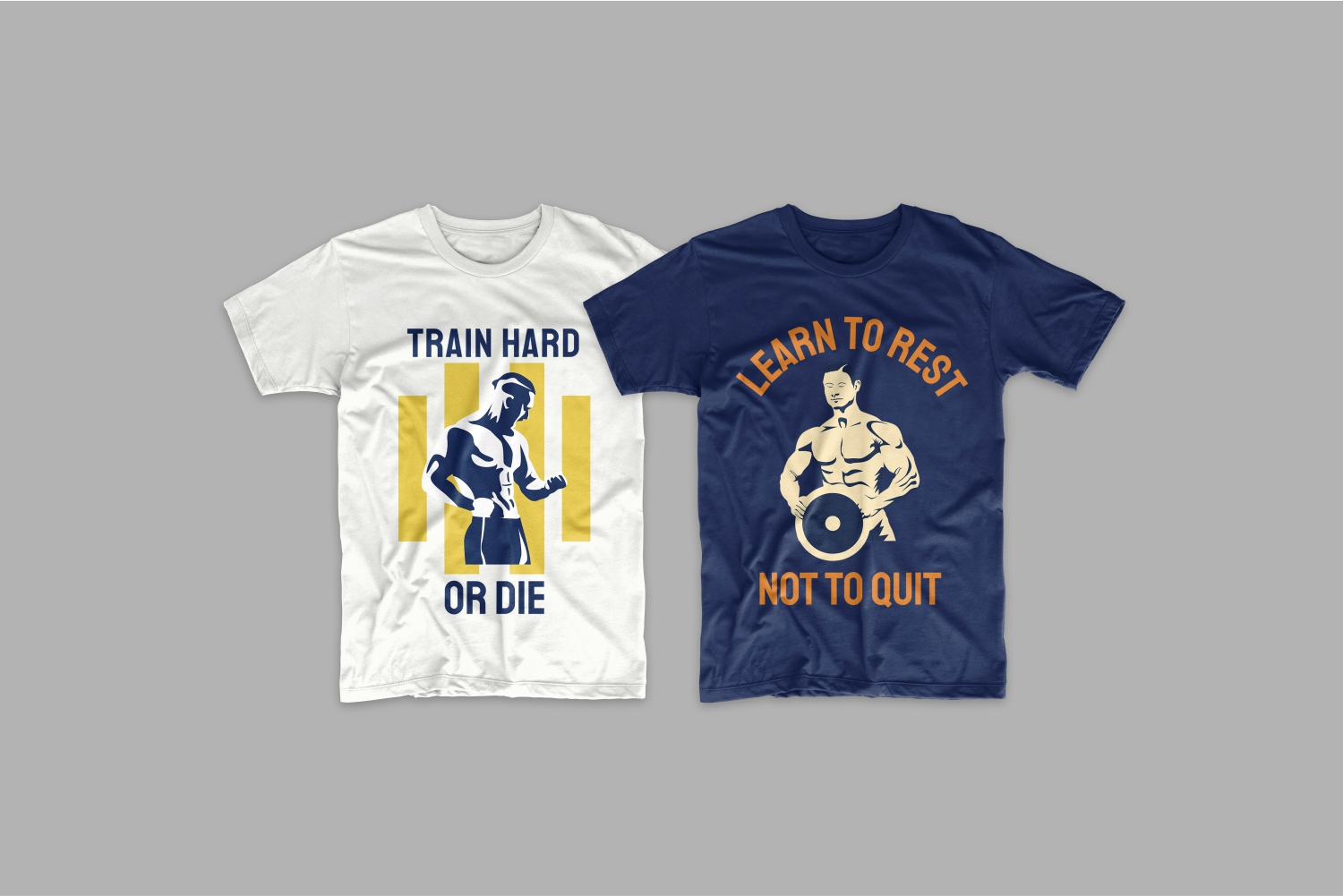 Two T-shirts about training and results.
