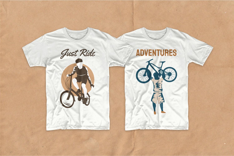 Two white cycling T-shirts.