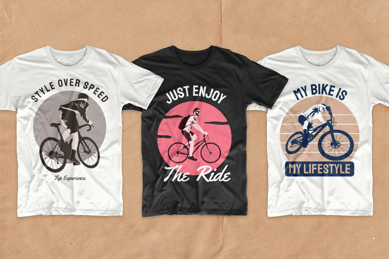 Three T-shirts with a round neck and a picture of cyclists.