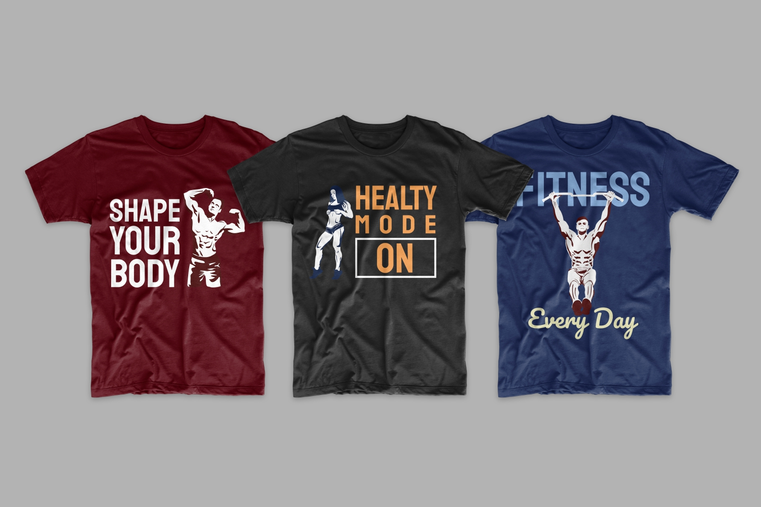 Three T-shirts: blue, burgundy and black with a picture. athletes from different sports who demonstrate their figure.
