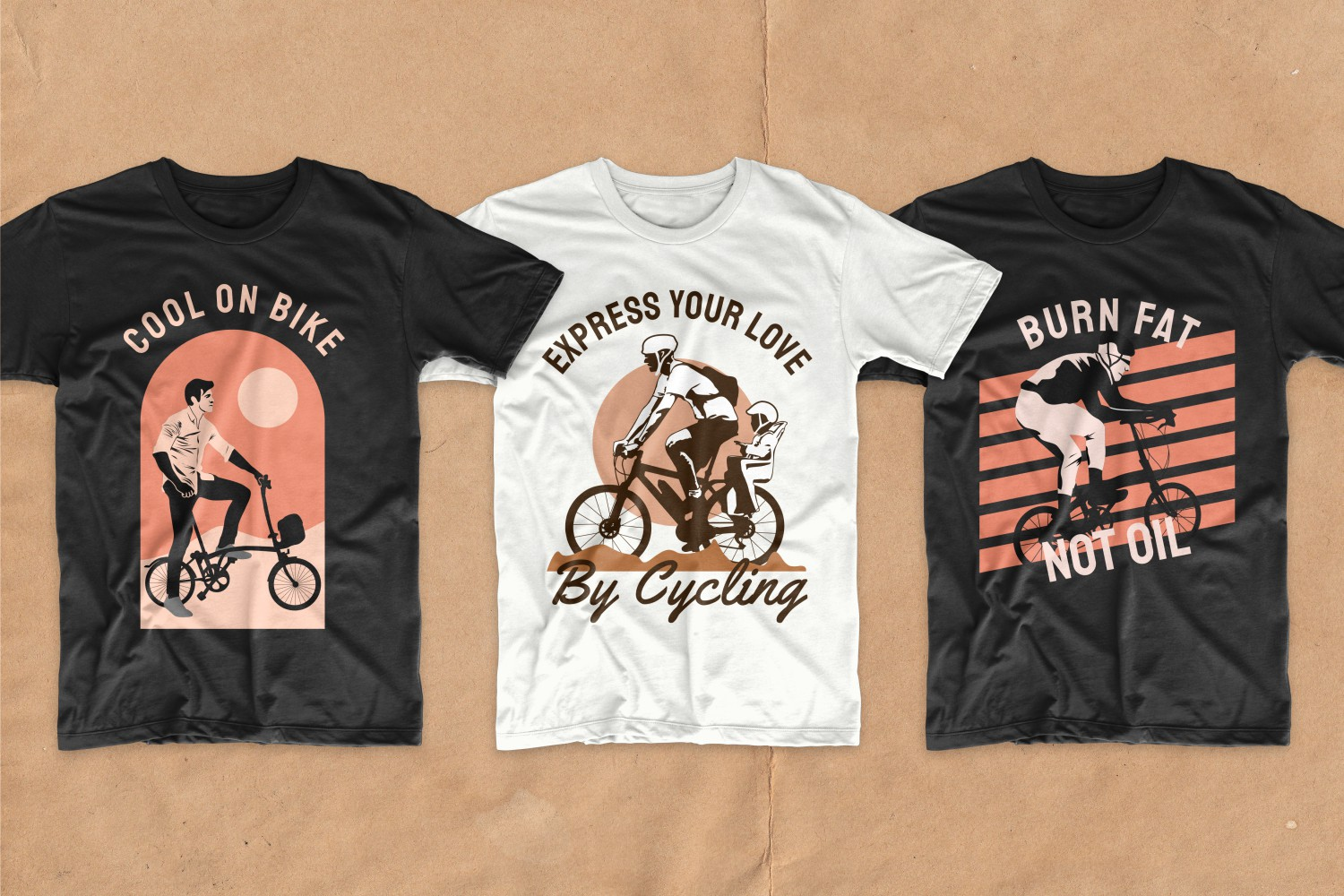 Three T-shirts featuring cyclists at sunset.