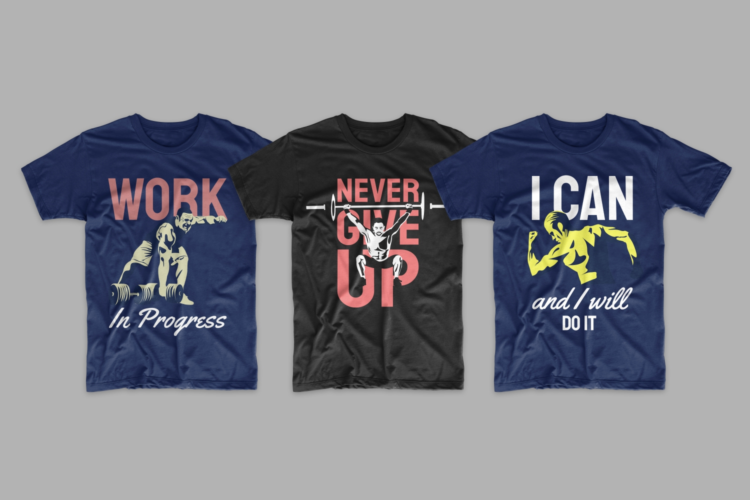 Three T-shirts: two blue and black with male athletes and short motivational phrases.