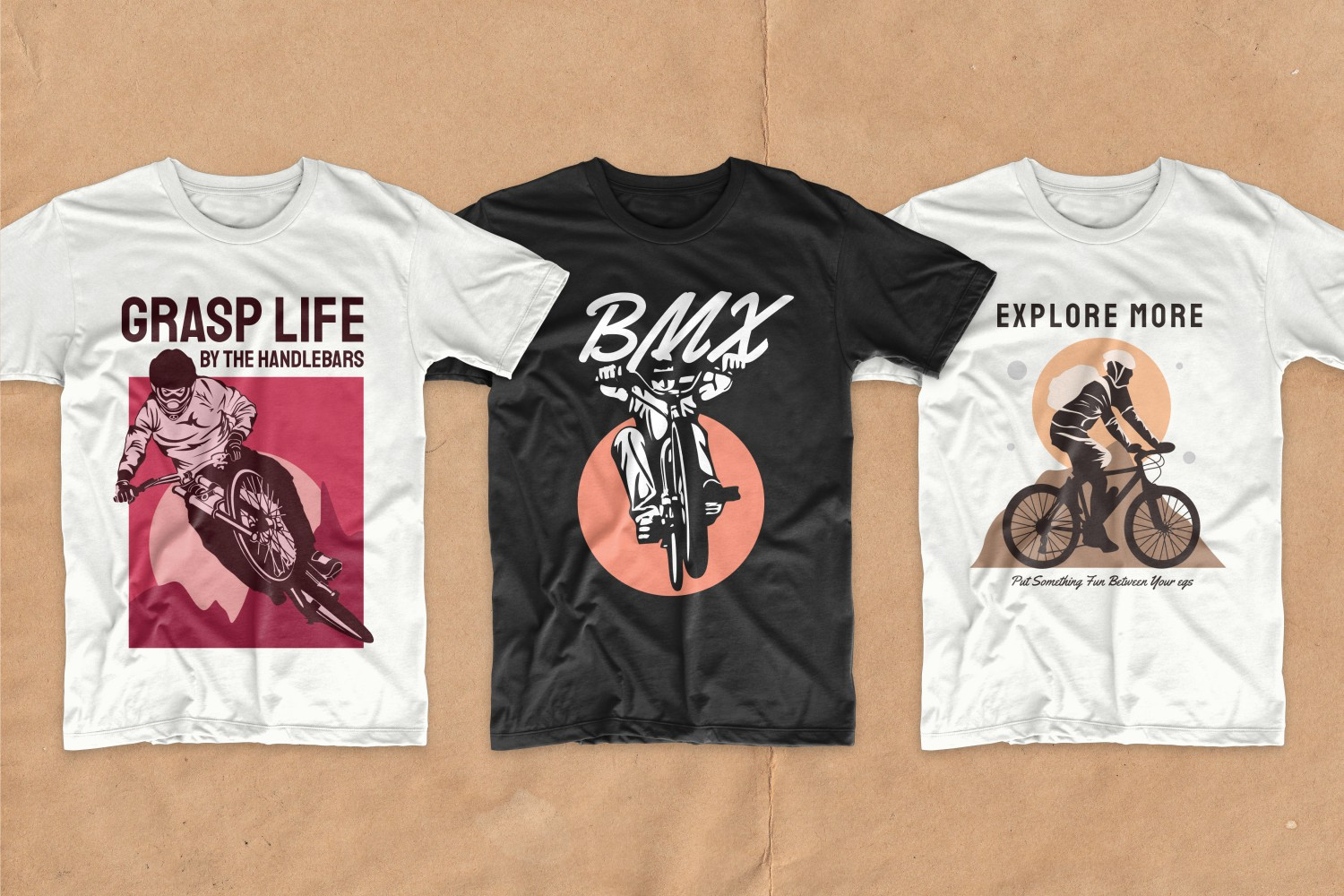 T-shirts with bold graphic cycling prints.