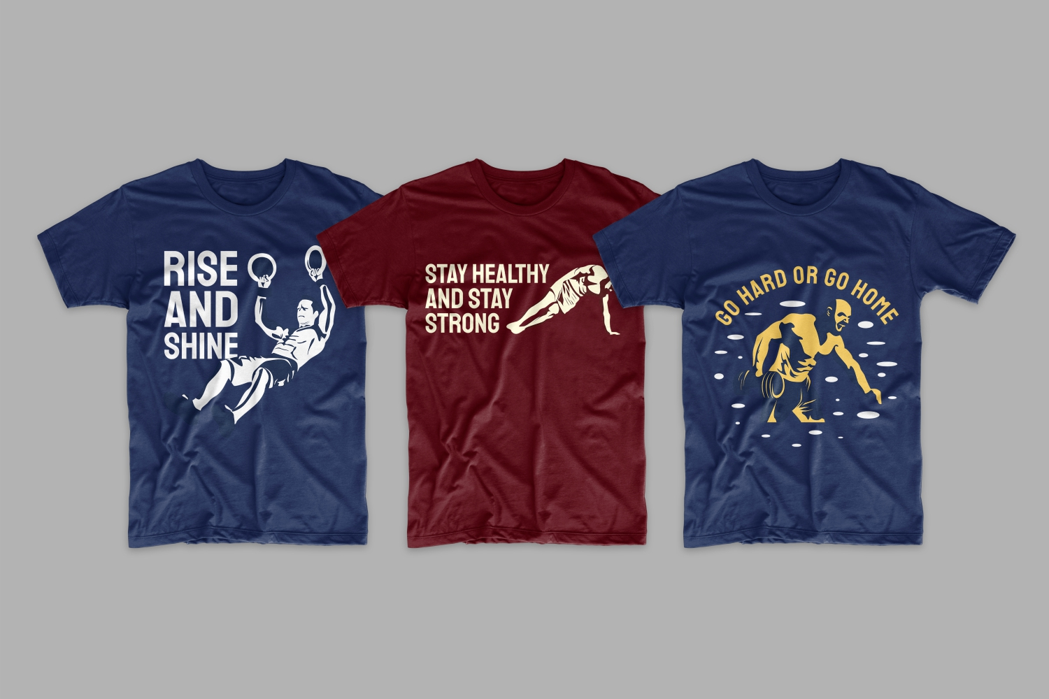 Three T-shirts: two blue and burgundy with male athletes and short motivating phrases.