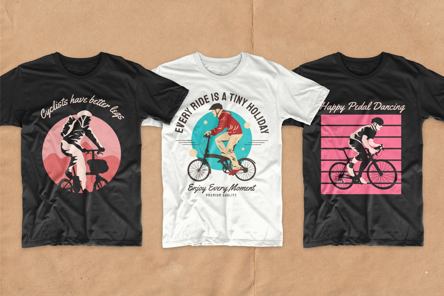 T-shirts with stylish graphics and pictures of the wonderful life of cyclists.