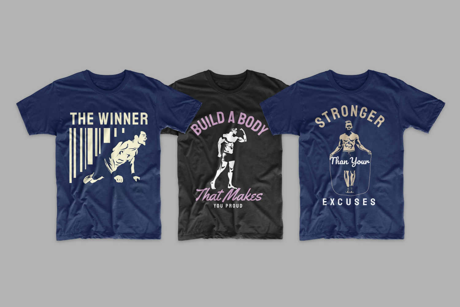 Three T-shirts with motivational phrases.