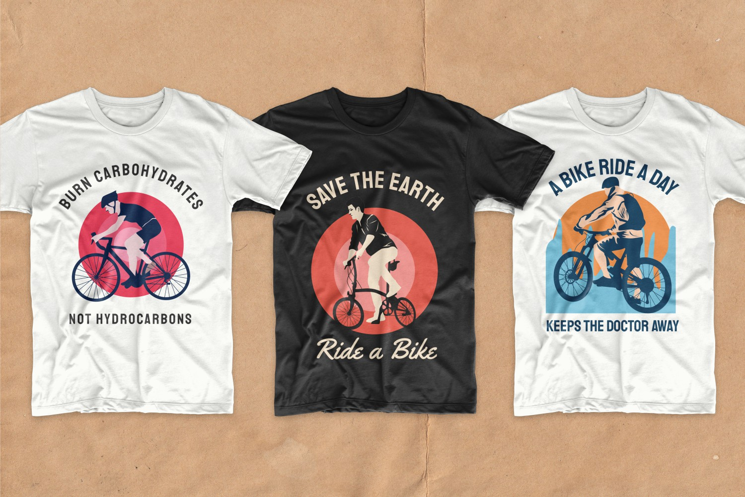 Three T-shirts with colorful circles and cyclists.