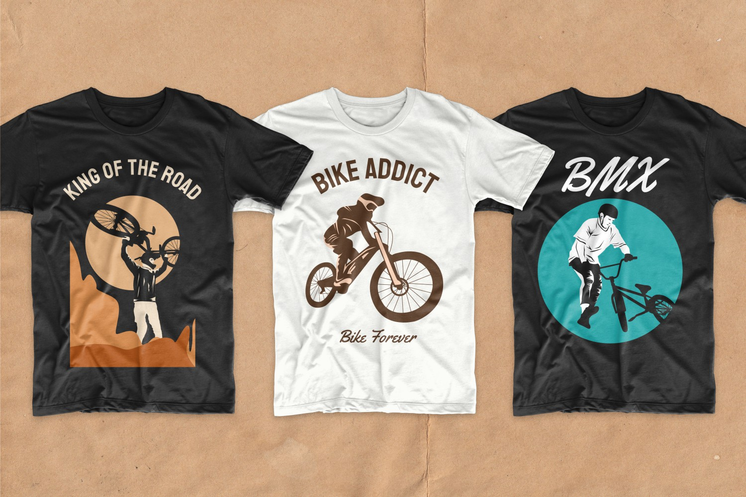 T-shirts with active cyclists.