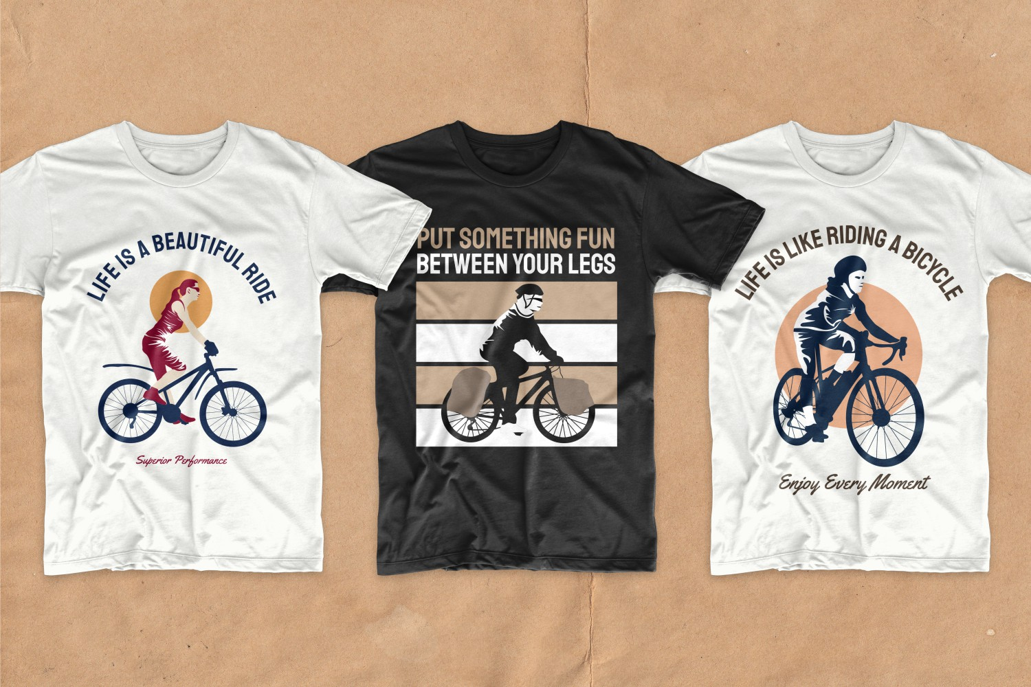 Three T-shirts in classic colors featuring urban cyclists.