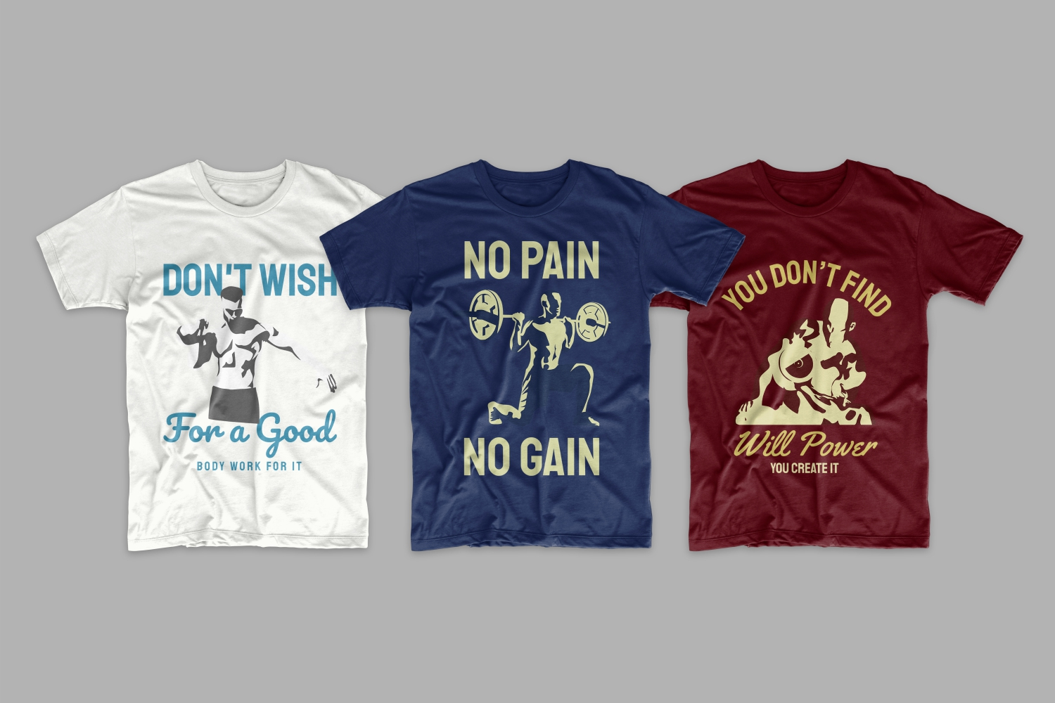T-shirts in different colors about sports goals and achievements.