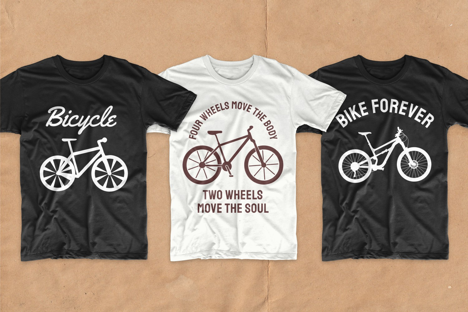 Two black and white T-shirts with bicycles.