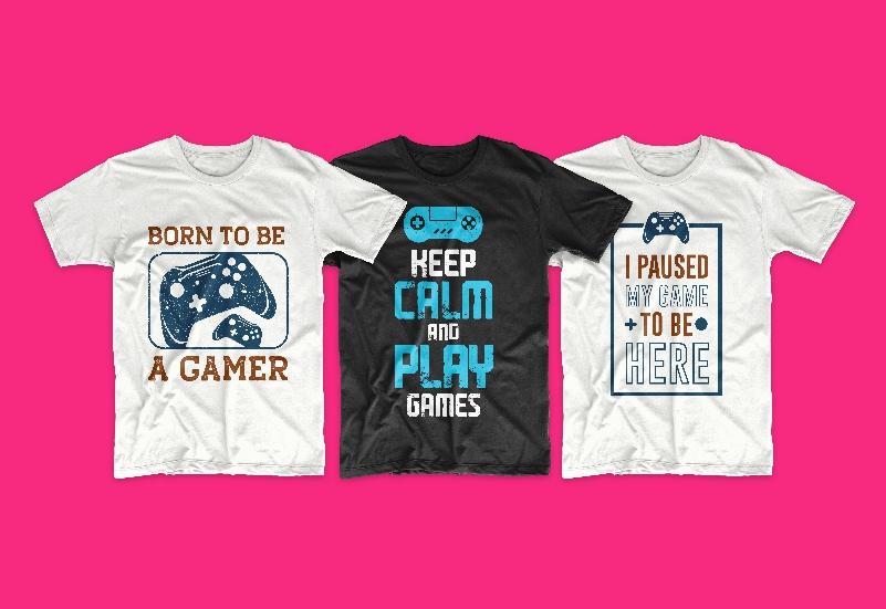 50 Gamer T-shirt Design Bundle - g 1