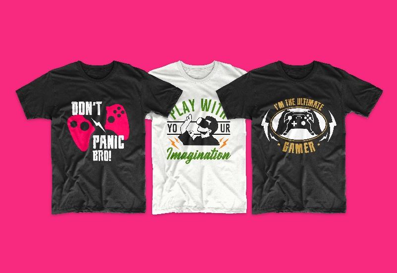 50 Gamer T-shirt Design Bundle - g 11