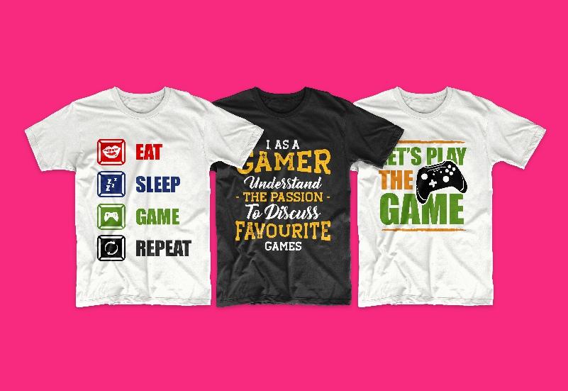 50 Gamer T-shirt Design Bundle - g 15