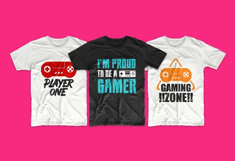 50 Gamer T-shirt Design Bundle - g 6