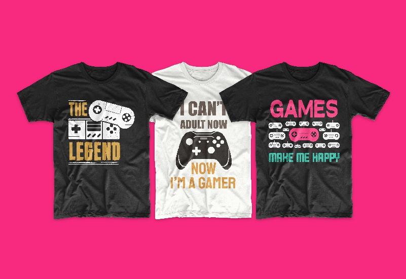 50 Gamer T-shirt Design Bundle - g 9