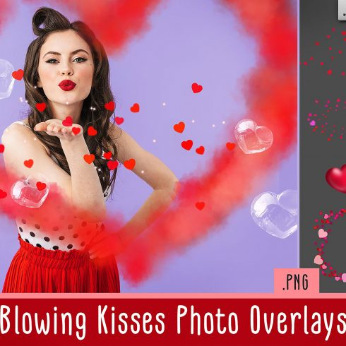 Love Overlays PNG: 38 Photo Overlays High Resolution - kiss 490x490
