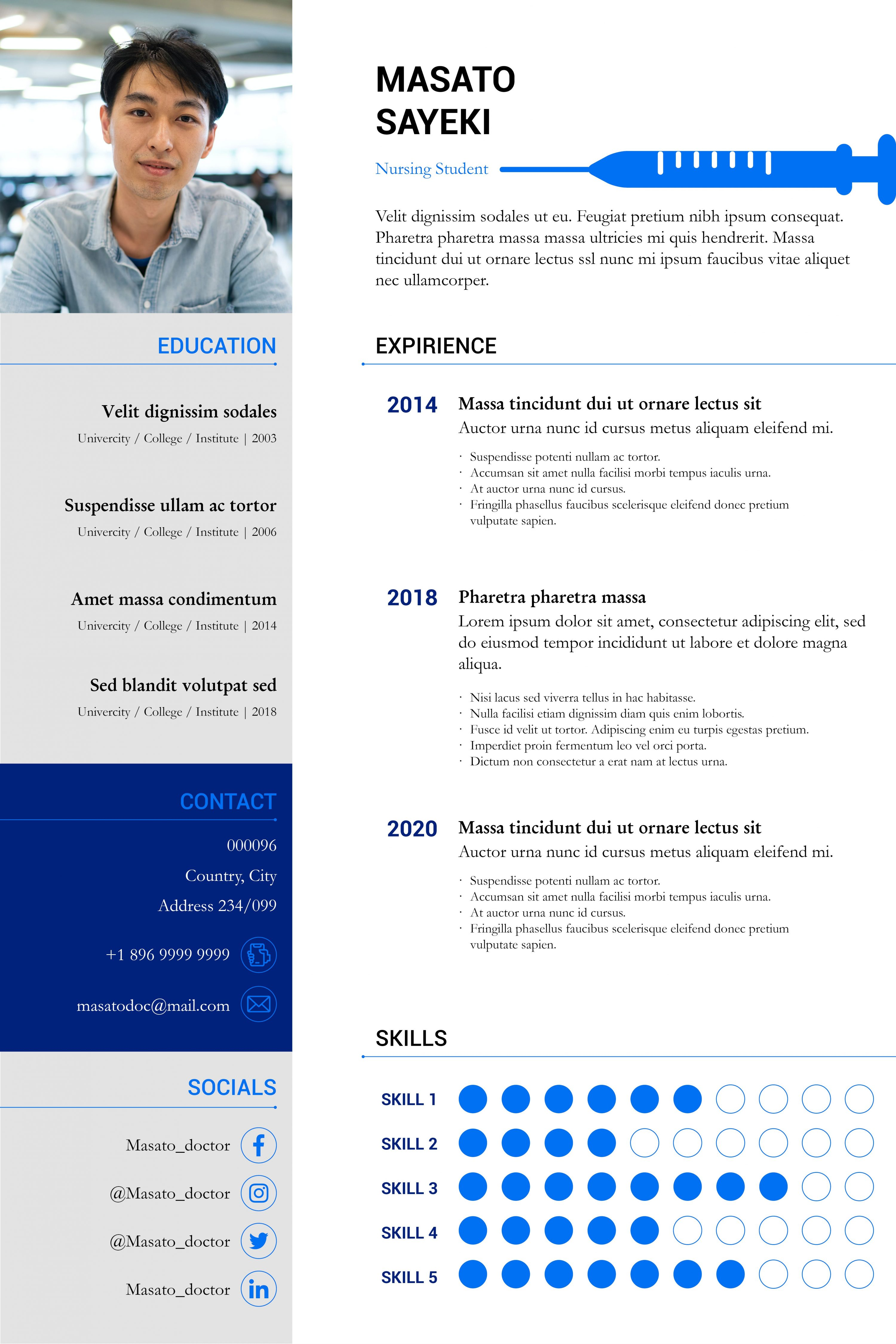 Nursing & Medical Resume Templates InDesign Bundle - nursing student resume