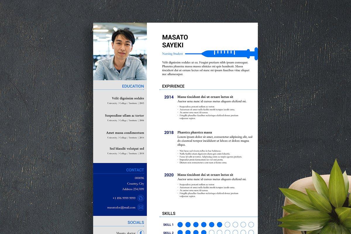 Nursing & Medical Resume Templates InDesign Bundle - student 1