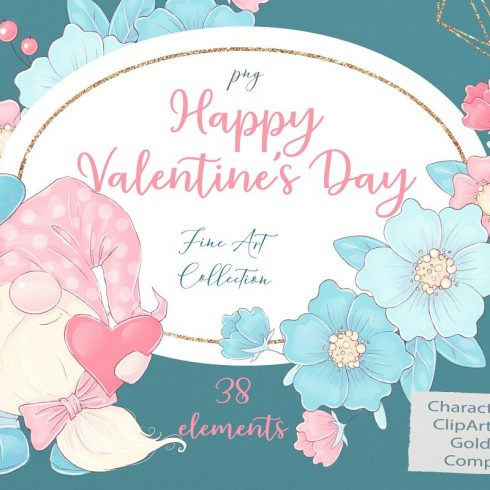Valentine's Day Clipart Gnomes PNG main cover.