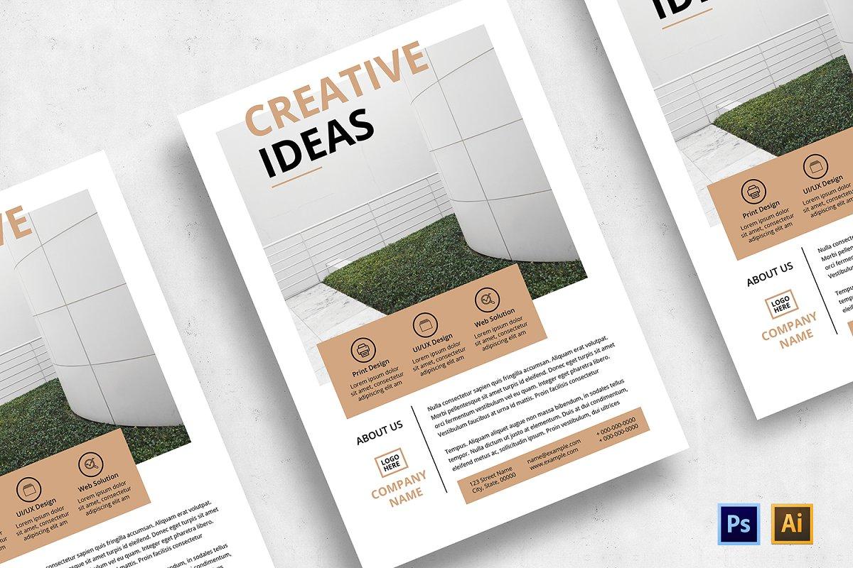 Minimal Flyer Design Bundle, Word Flyer Postcard - 02