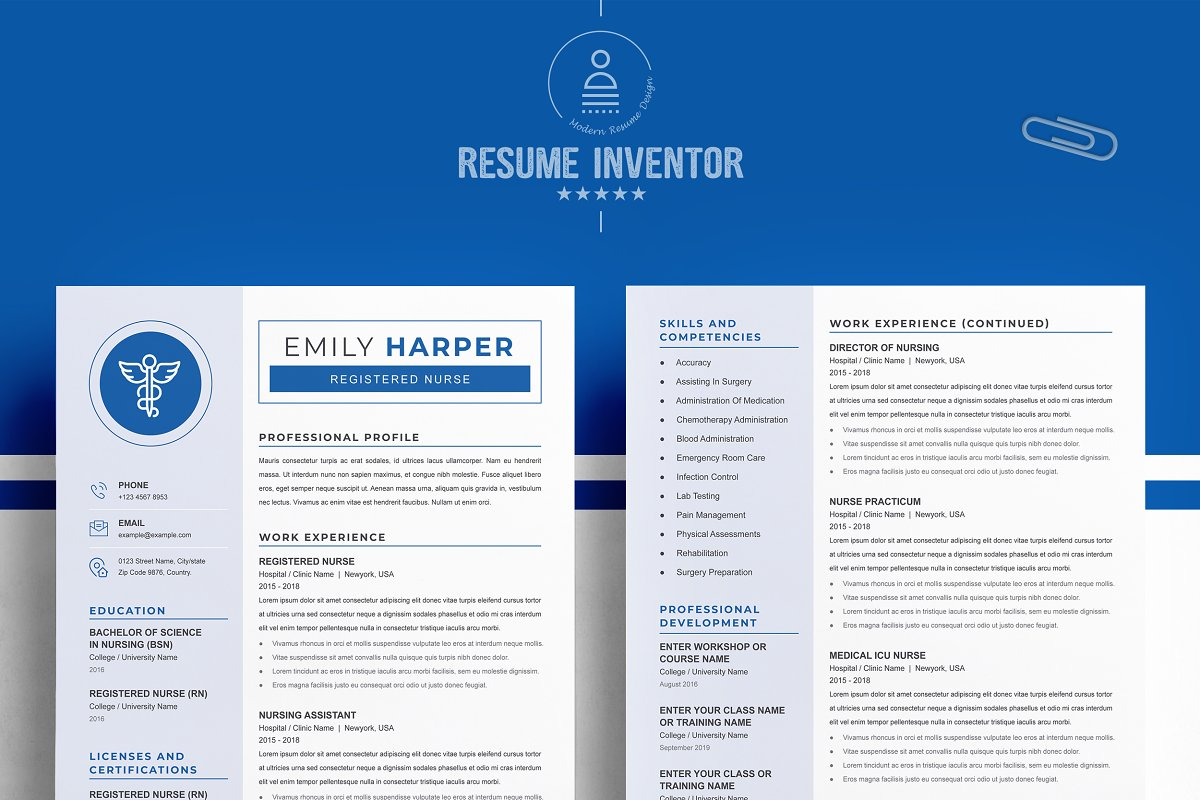 New Nurse Resume CV Template - 02 2 pages free resume design template