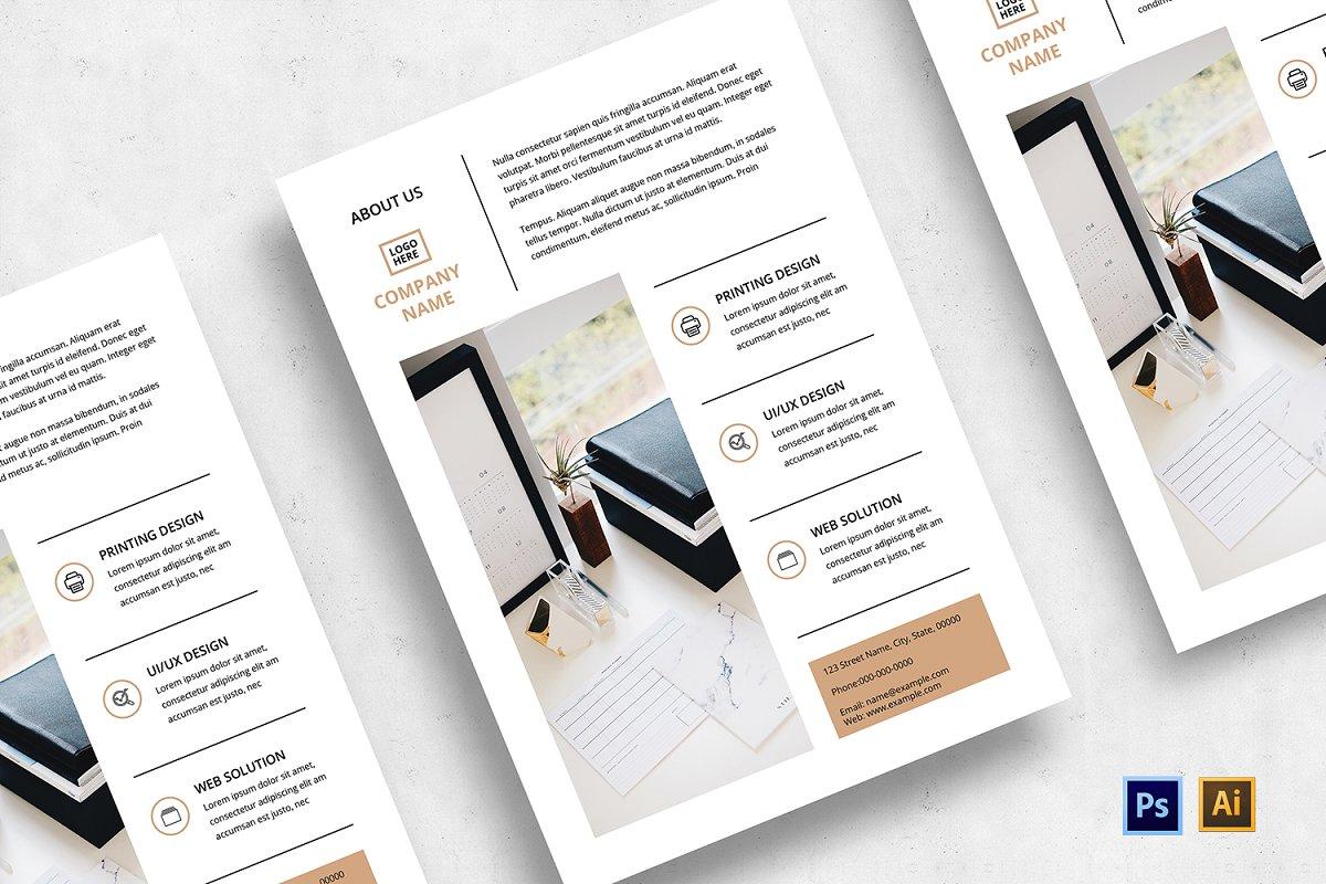 Minimal Flyer Design Bundle, Word Flyer Postcard - 03
