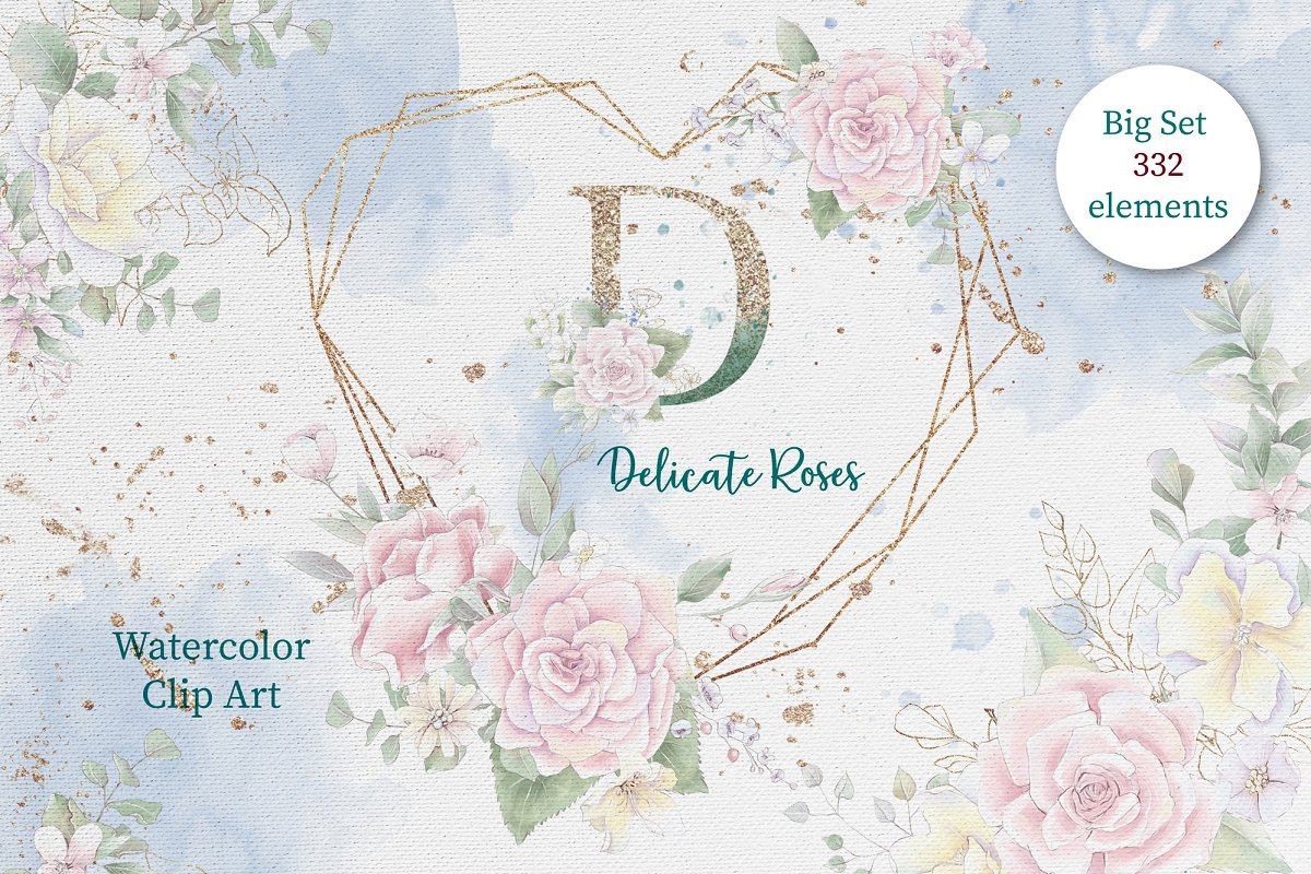Pink Roses Clipart: Watercolor flowers PNG - 1