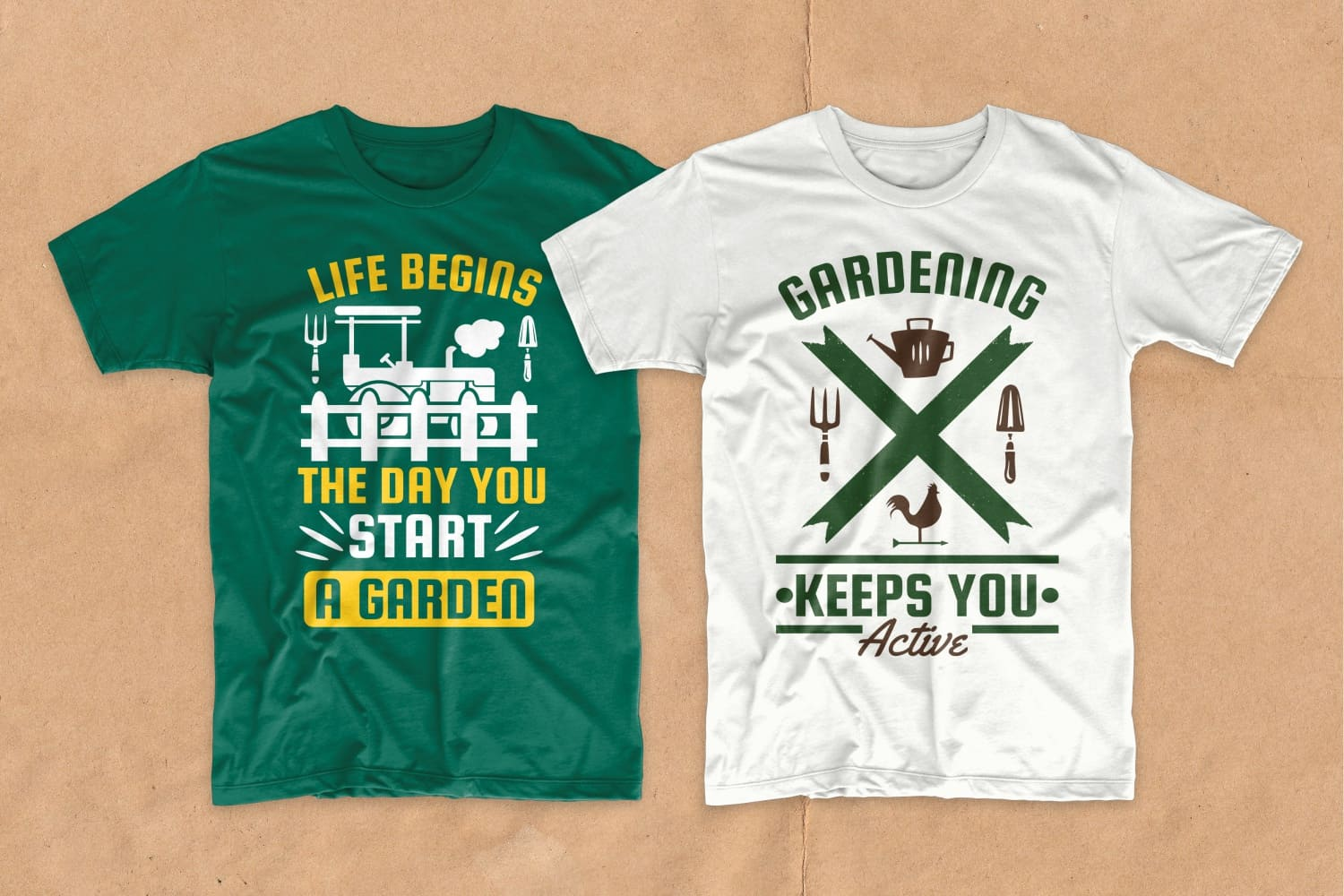 White and green T-shirts with motivating phrases about landscaping.