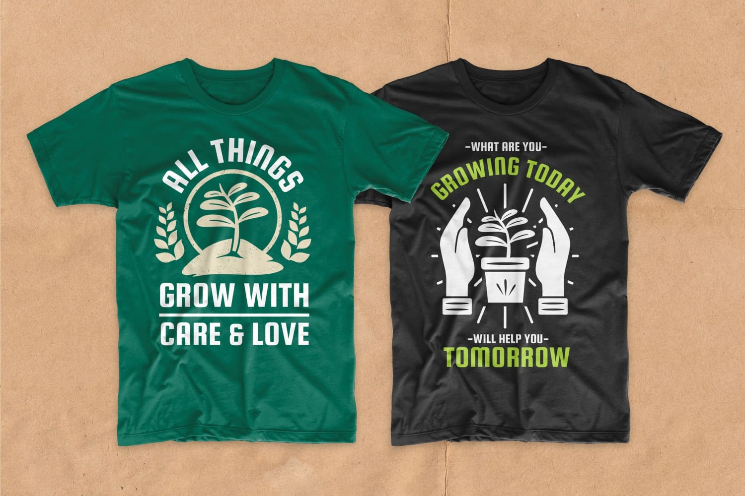 Black and green T-shirt with a house plant and an inscription about the importance of landscaping.