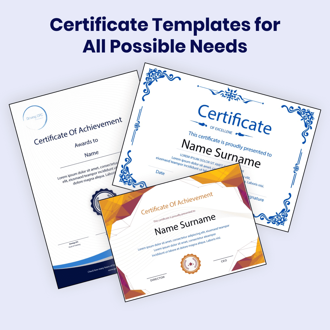 Certificate Templates for All Possible Needs