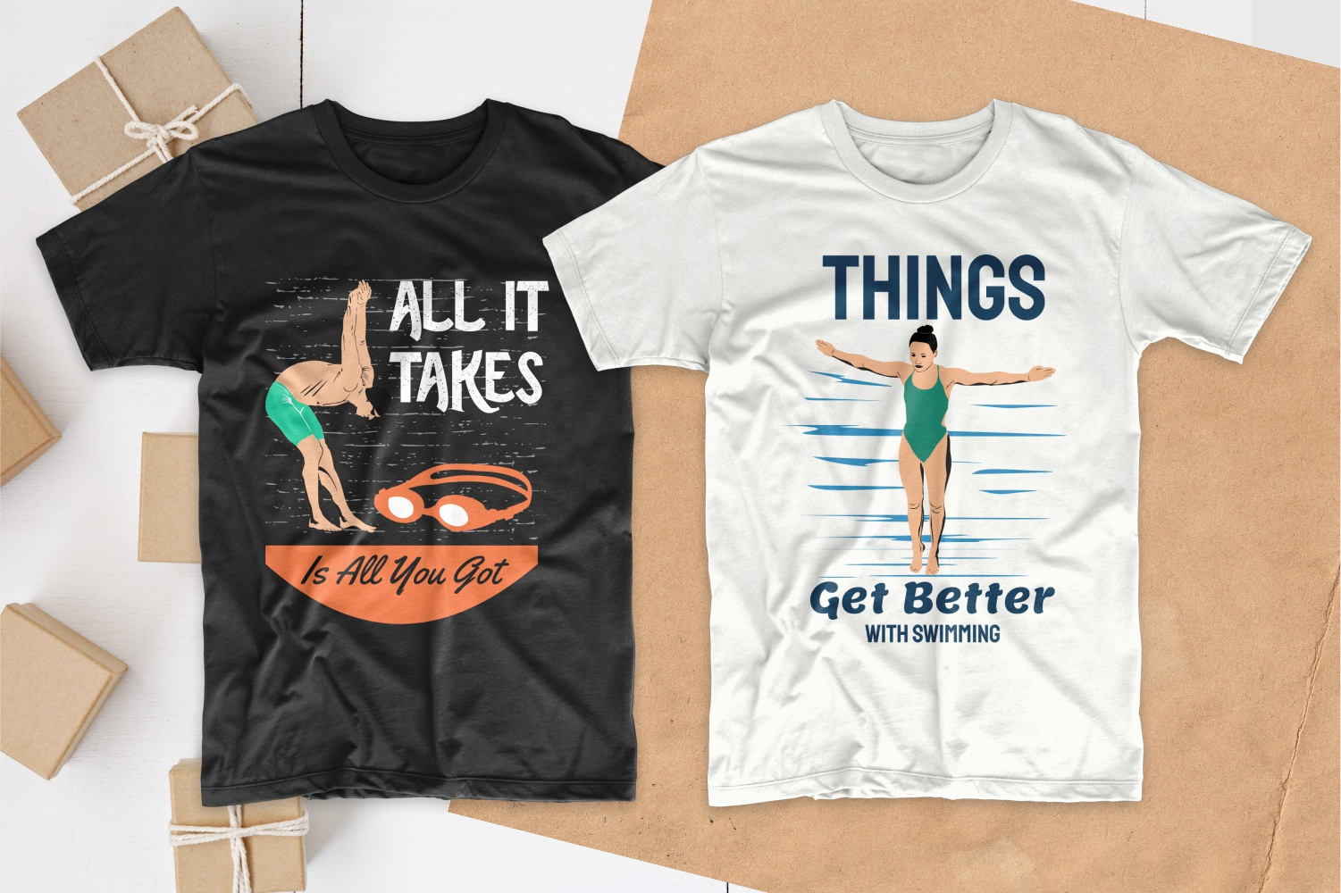 50 Swimming T-shirt Designs Bundle - 10