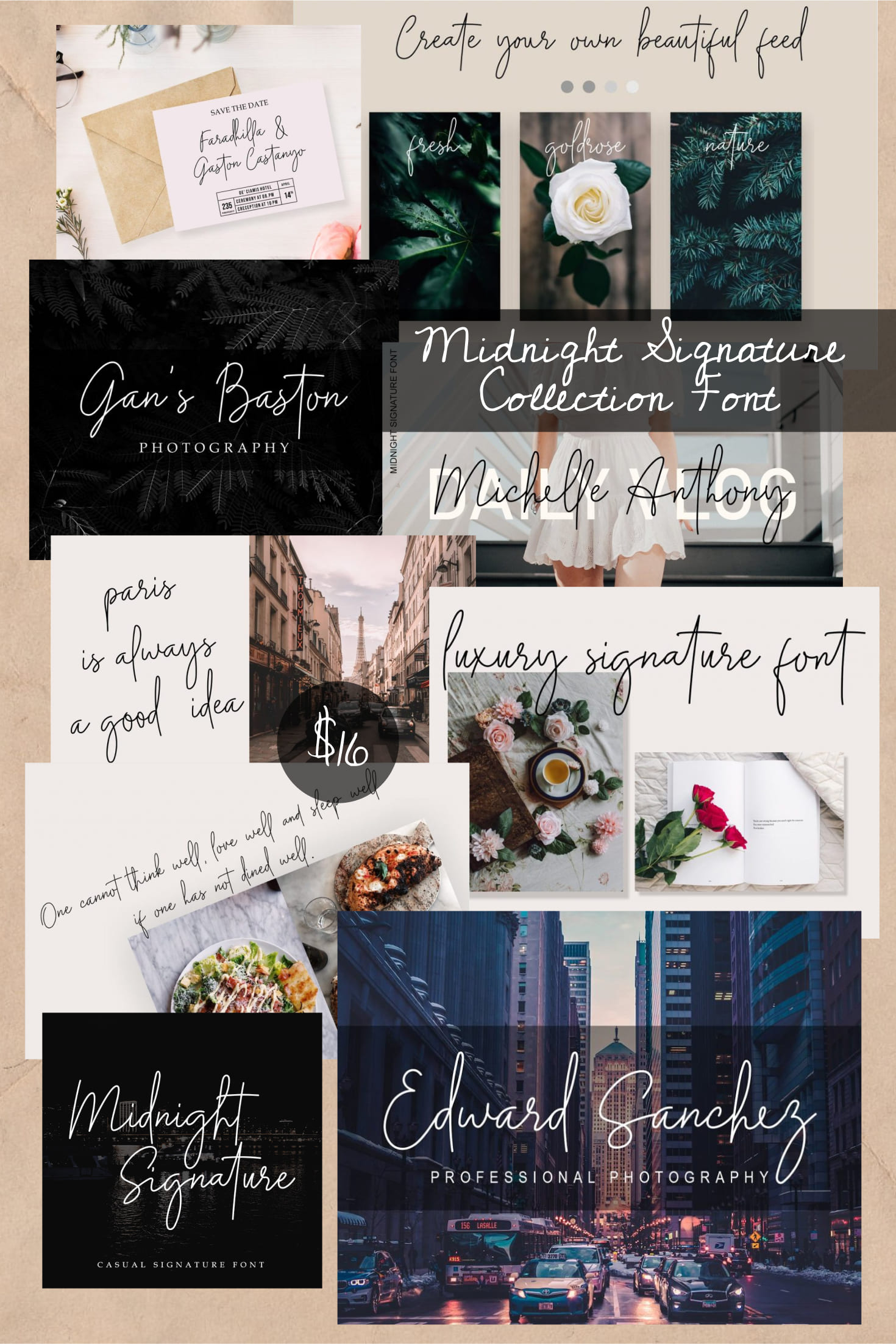 Pinterest Image: Midnight Signature Collection Font.