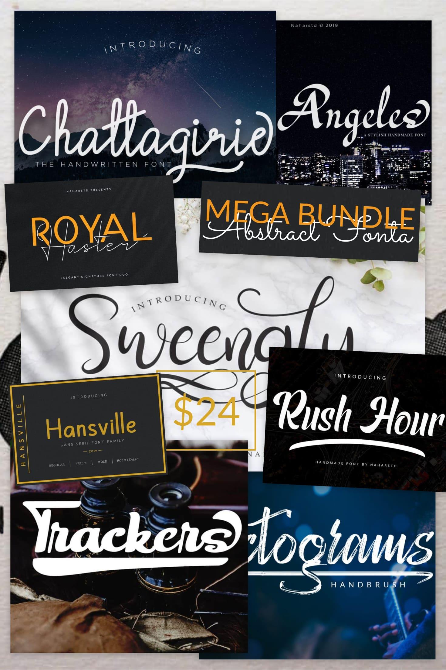 Pinterest Image: MEGA BUNDLE Abstract Fonts! Best Premium Font Collections OTF, TTF Format Download.
