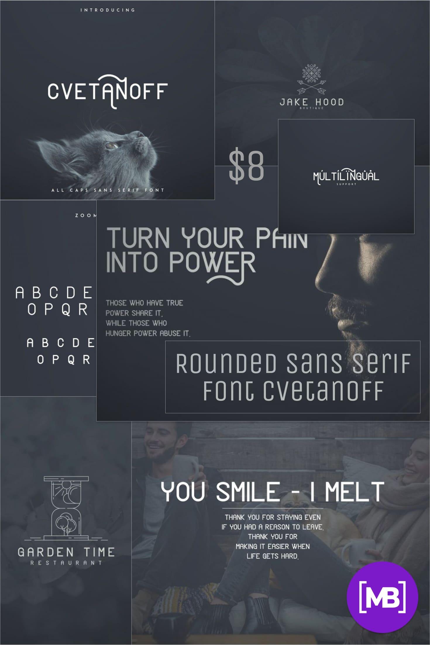 Pinterest Image: Rounded Sans Serif Font Cvetanoff -30%.