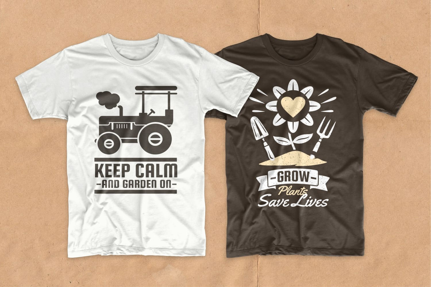 White and brown T-shirts with a flower and a shovel.
