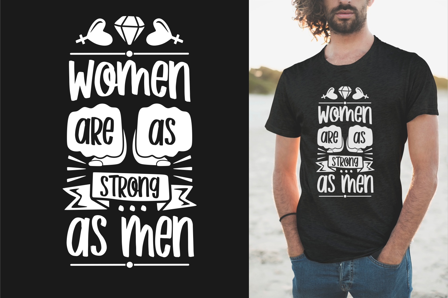 Black men's T-shirt with the inscription that women are stronger than men.