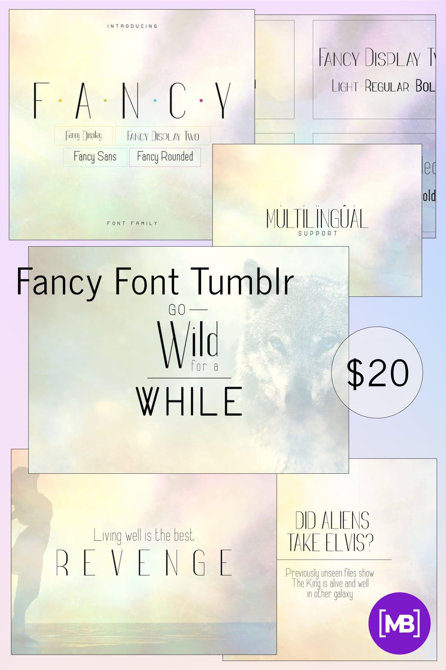 Pinterest Image: Fancy Font Tumblr  - font family 12 items   -50%.