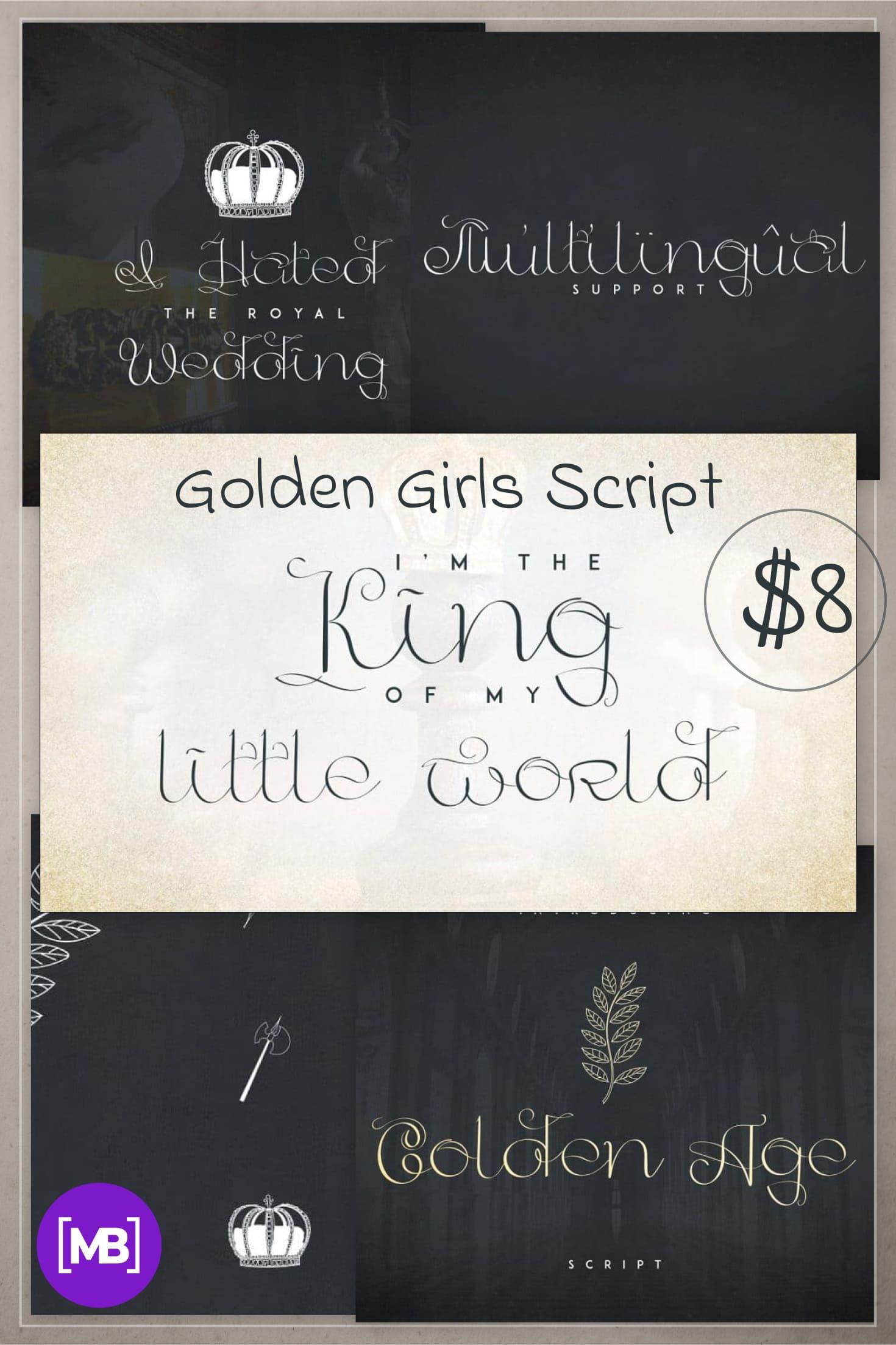 Pinterest Image: Golden Girls Script +20 Handmade Vectors.
