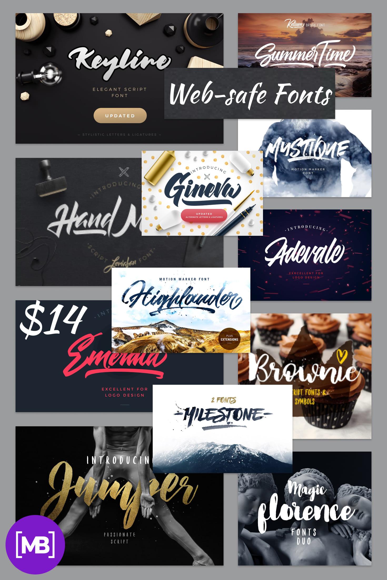 Pinterest Image: Web-safe Fonts - $14 for 14 Fonts Bundle - Best Deal.