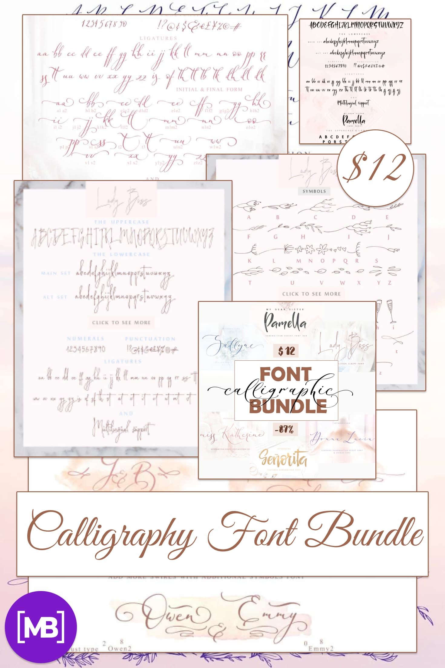 Pinterest Image: Calligraphy Font Bundle - $12 ONLY.