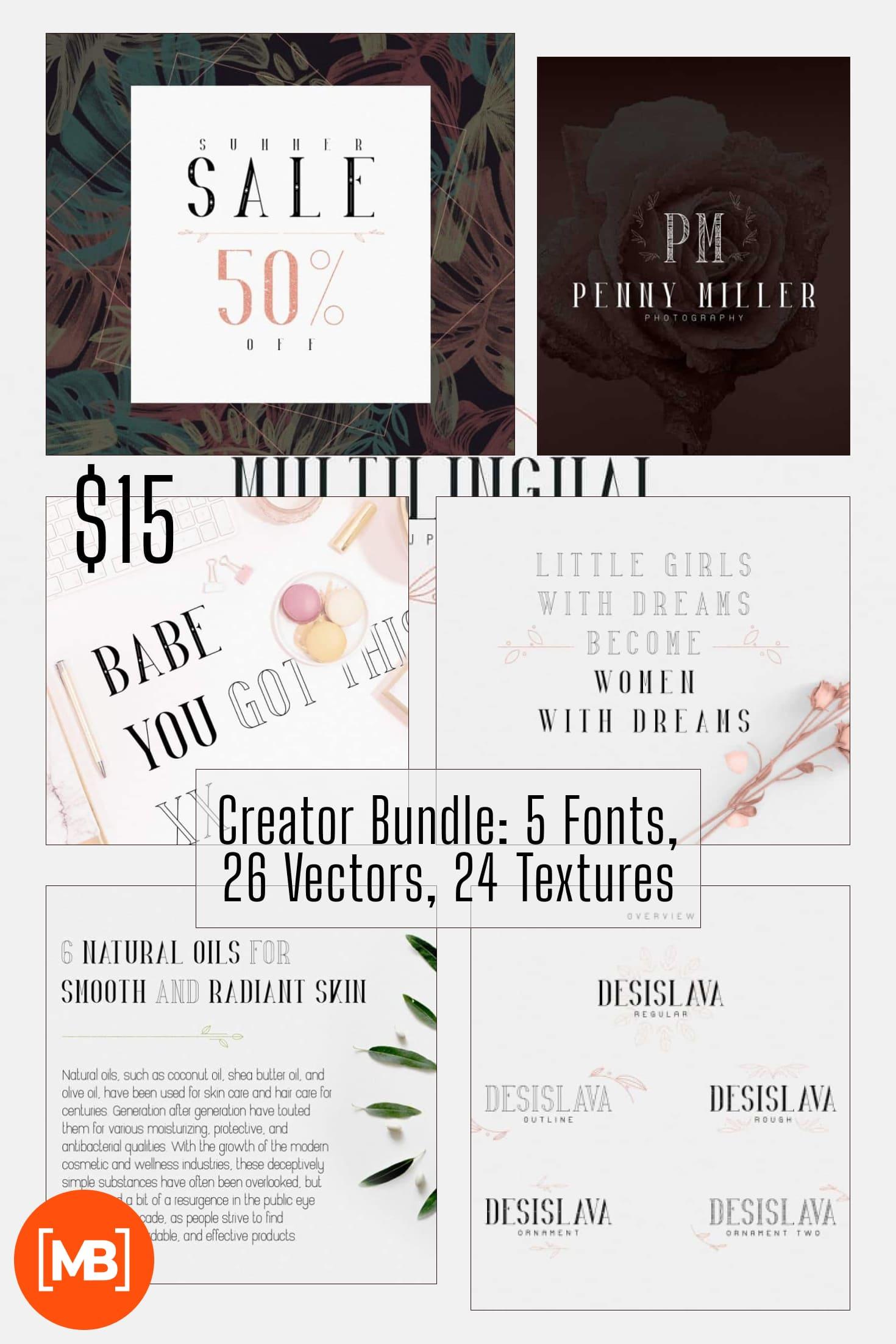Pinterest Image: Creator Bundle: 5 Fonts, 26 Vectors, 24 Textures.