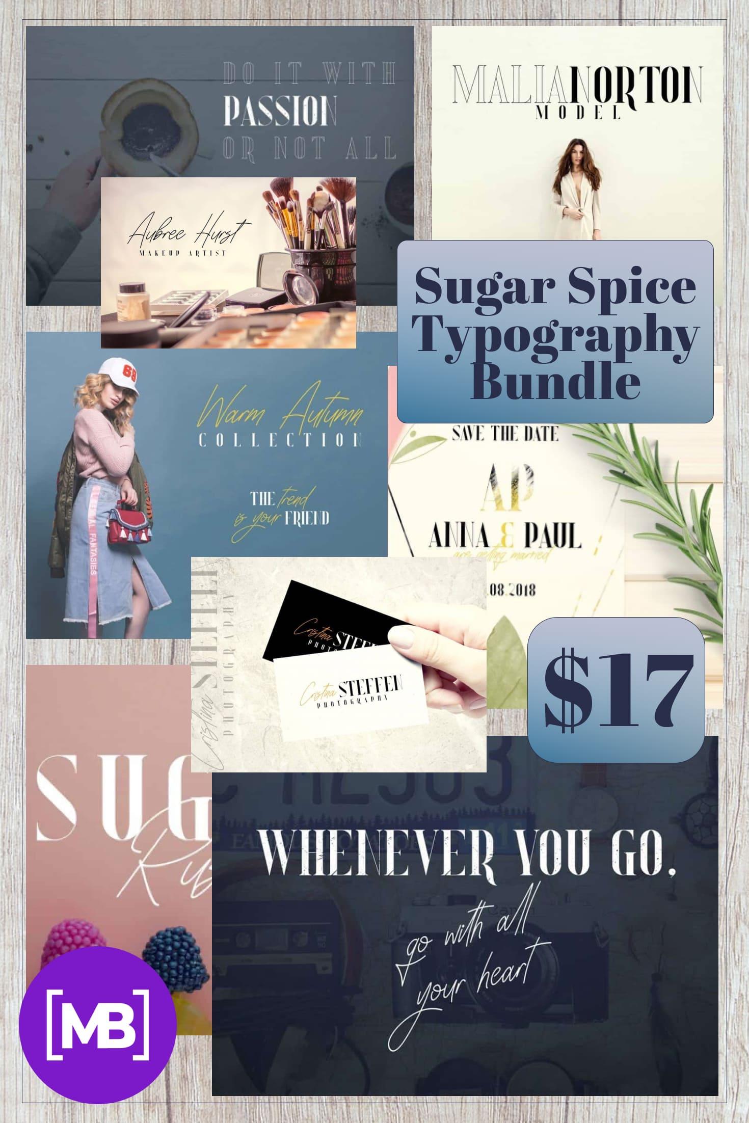 Pinterest Image: Sugar Spice Typography Bundle: fonts, frames, letters, backgrounds.