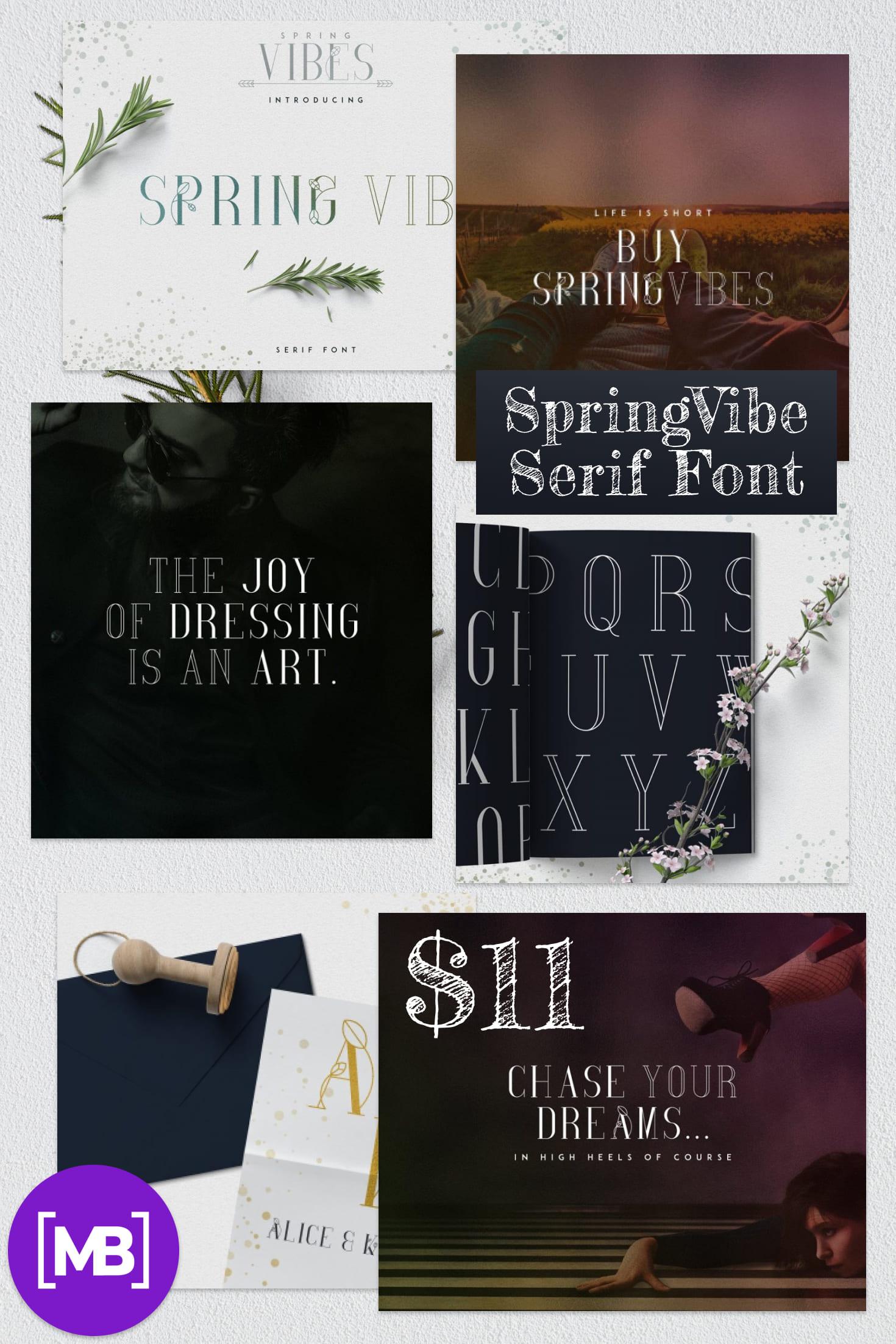 Pinterest Image: Spring Font with 30% OFF - SpringVibe Serif Font.