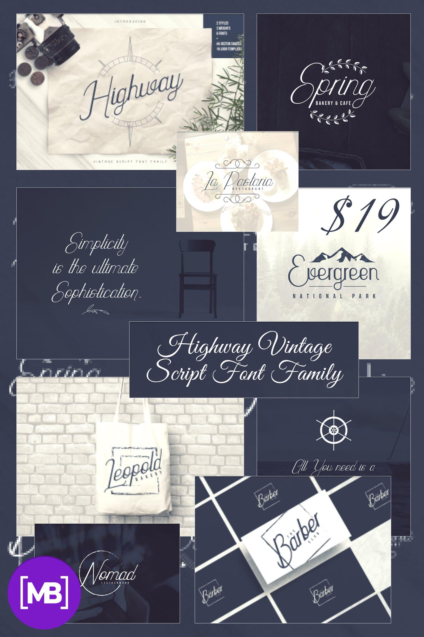 Pinterest Image: Highway Vintage Script Font Family + Extras - $19.
