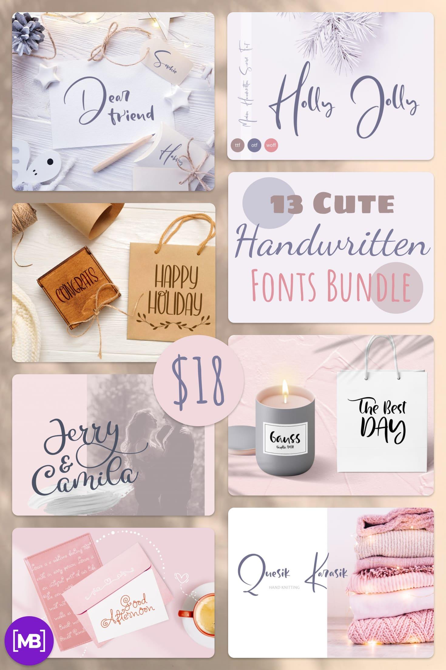 Pinterest Image: 13 Cute Handwritten Fonts Bundle in 2020.